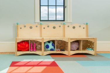 Bench with Cubbies and Back